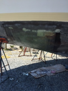 New fiberglass on the bow